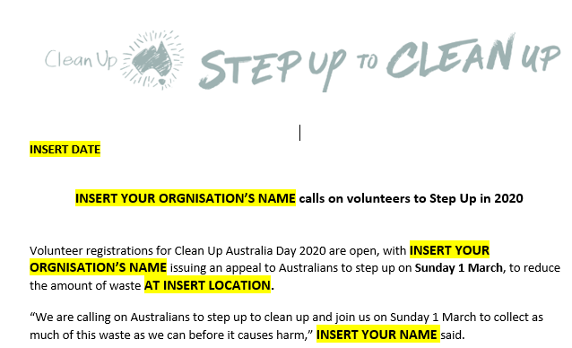 Localised media release - Call for Volunteers to Step Uo