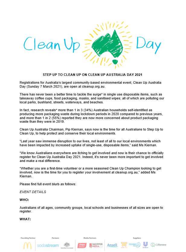 EVENT ALERT Clean Up Australia Day 2021