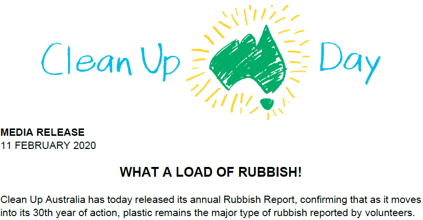 Rubbish Report Media Release